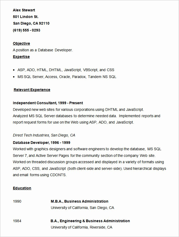 Samples Of A Basic Resume Fresh Resume Templates – 127 Free Samples Examples & format