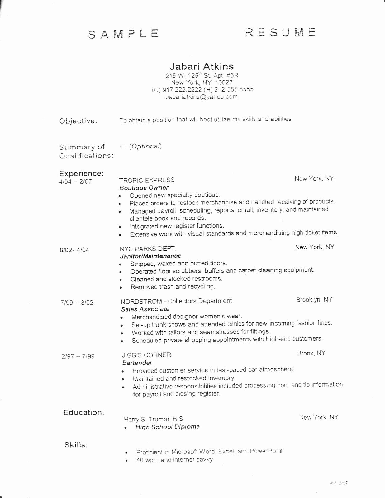 Samples Of A Basic Resume Fresh Sample Resume Outlines Search Results