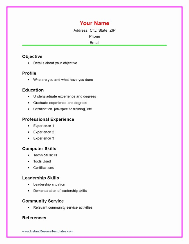 Samples Of A Basic Resume Lovely Resume formats for High School Students Best Resume