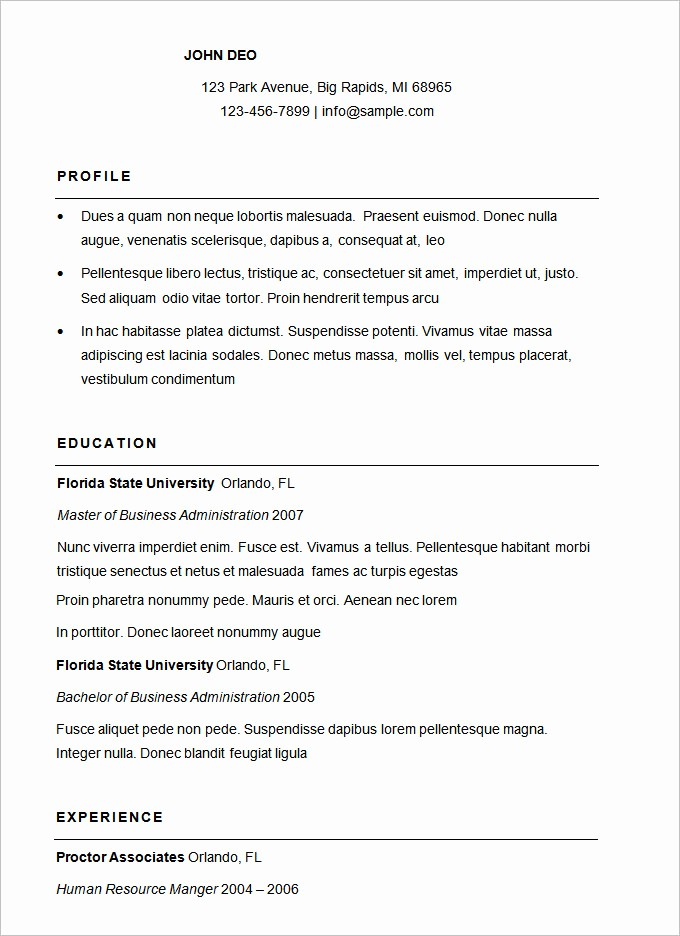 Samples Of A Basic Resume New 70 Basic Resume Templates Pdf Doc Psd