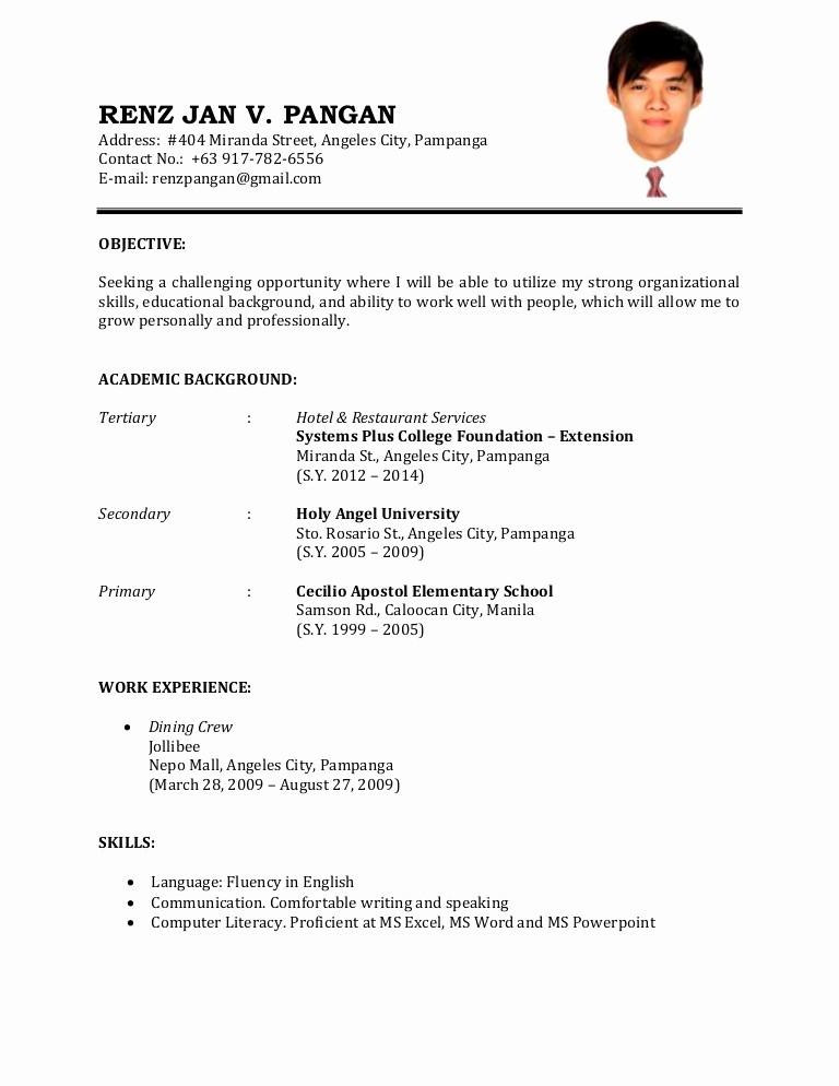 Samples Of A Basic Resume New Resume Sample