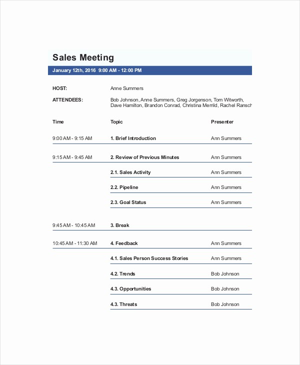 Samples Of Agenda for Meetings Elegant Perfect Agenda Sales Meeting Template Sample with Host and