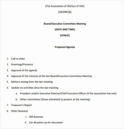 Samples Of Agenda for Meetings Fresh 41 Agenda Templates