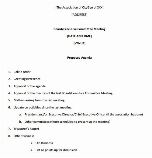 Samples Of Agenda for Meetings Fresh 41 Agenda Templates