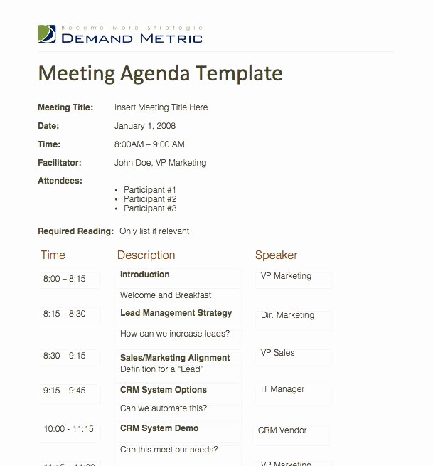 Samples Of Agenda for Meetings New Meeting Agenda Template A Template to organize Meeting