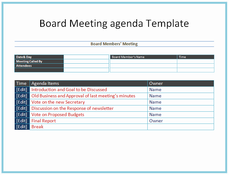 Samples Of Agenda for Meetings Unique Board Meeting Agenda Template Easy Agendas