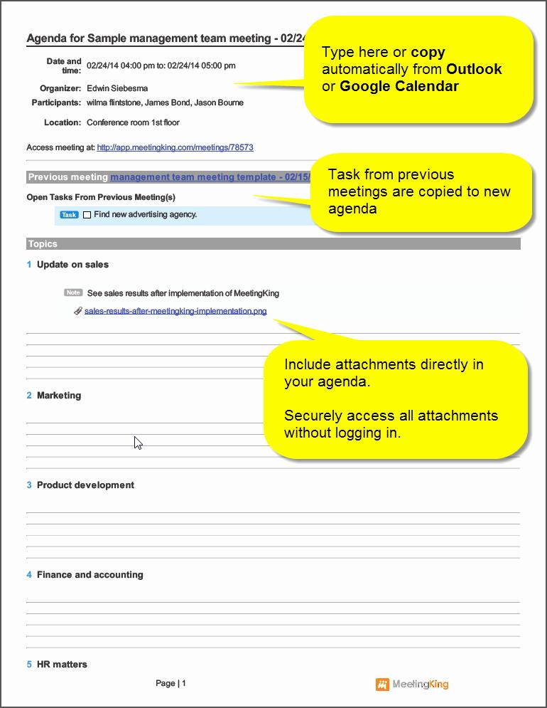 Samples Of Agenda for Meetings Unique Sample Management Team Meeting Agenda Template