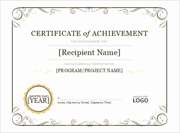 Samples Of Certificate Of Achievement Awesome Word Certificate Template 49 Free Download Samples