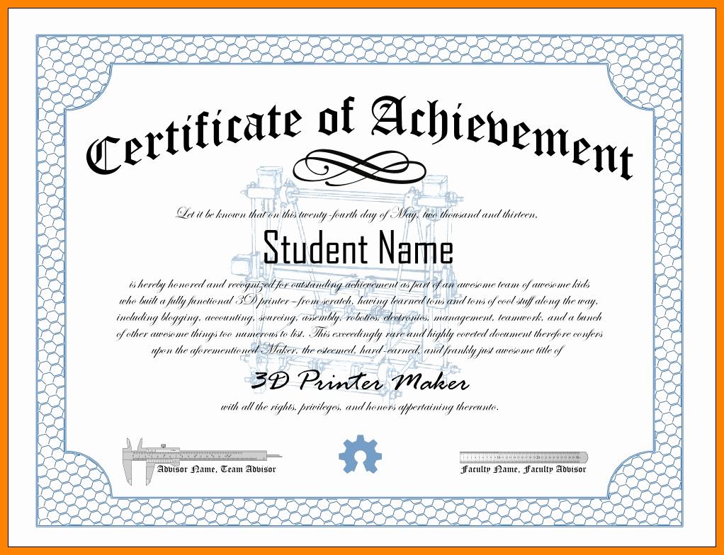 Samples Of Certificate Of Achievement Elegant Certificates Achievement Wording Certificate Award