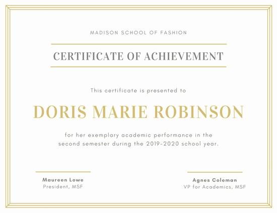 Samples Of Certificate Of Achievement Elegant Customize 101 Achievement Certificate Templates Online
