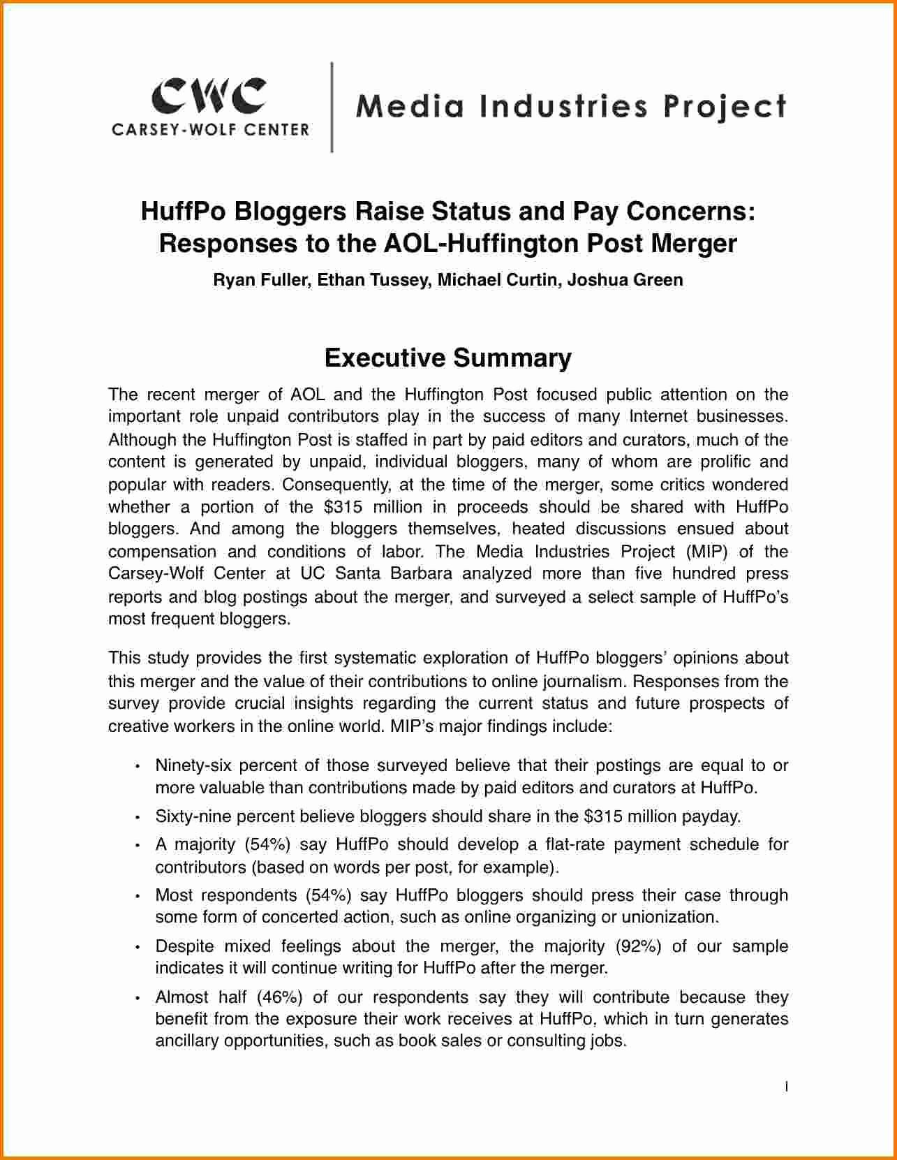 Samples Of Executive Summary Report Fresh 9 Executive Summary Sample