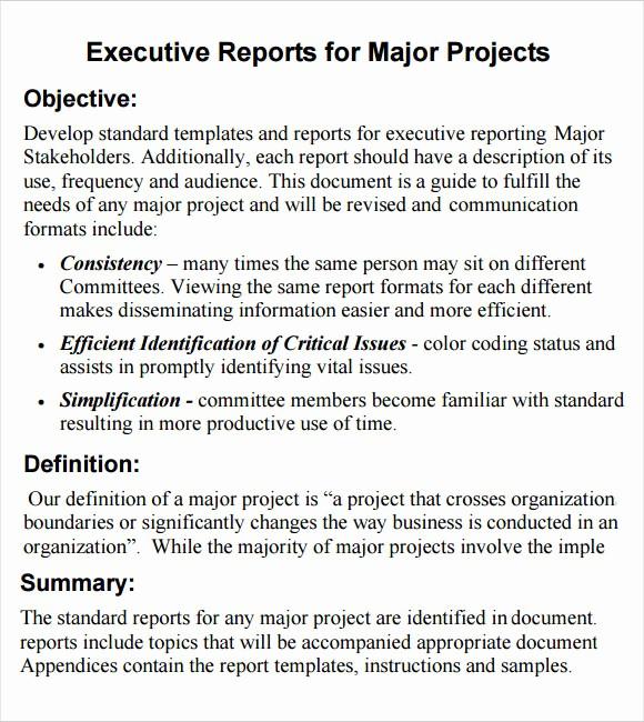 Samples Of Executive Summary Report Inspirational 6 Sample Executive Reports