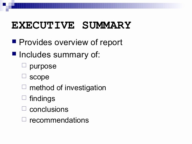 Samples Of Executive Summary Report Inspirational Report Writing Executive Summary and Other Sections