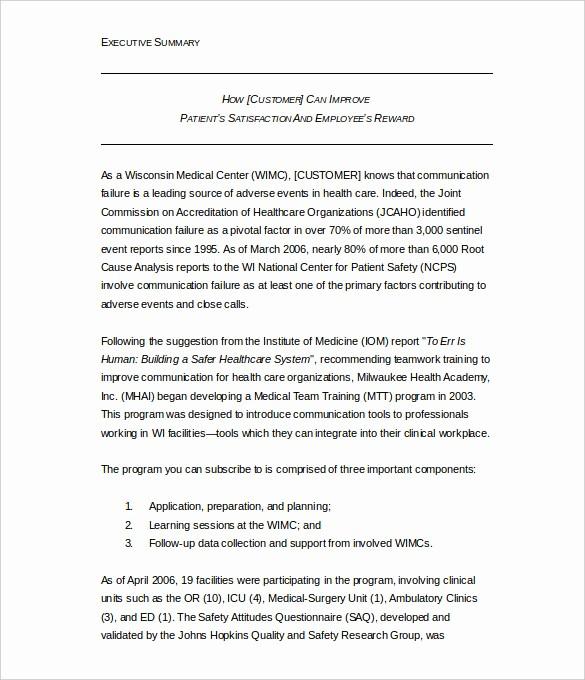 Samples Of Executive Summary Report New 31 Executive Summary Templates Free Sample Example