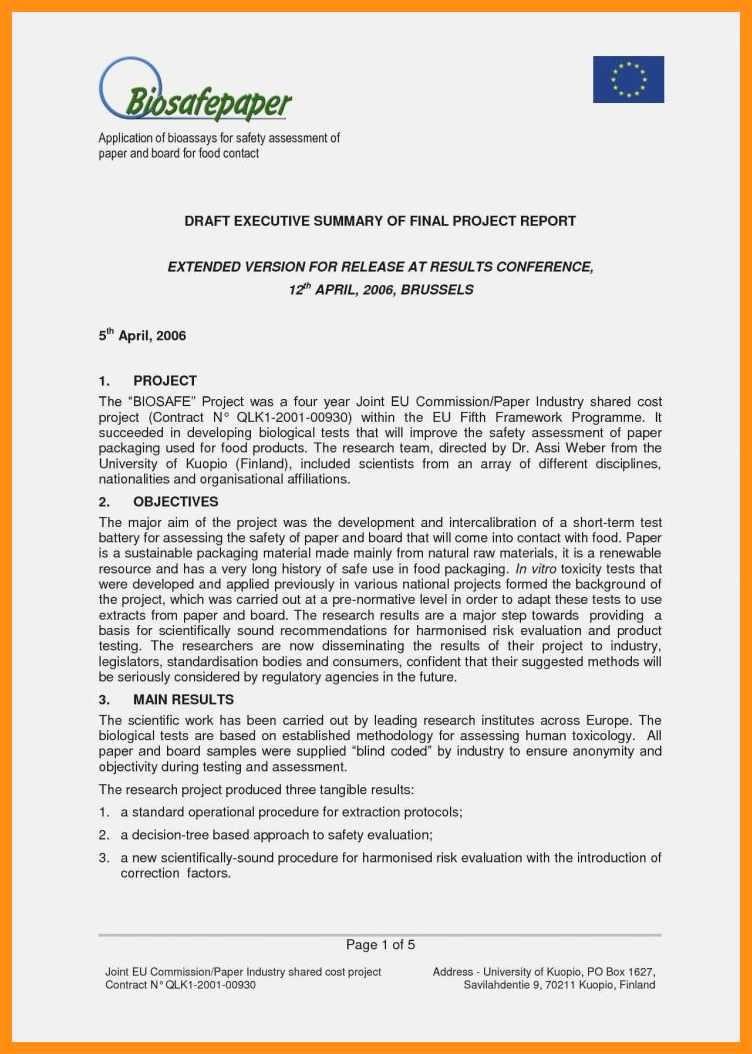 Samples Of Executive Summary Report Unique 9 10 Samples Of Executive Summary Report
