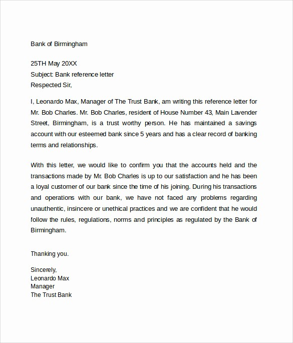 Samples Of Letters Of References Lovely 6 Bank Reference Letters – Samples format & Examples