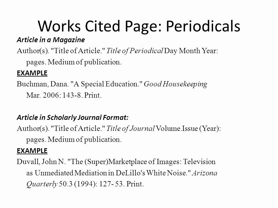 Samples Of Work Cited Pages Beautiful Mla Works Cited & In Text Citations Ppt Video Online