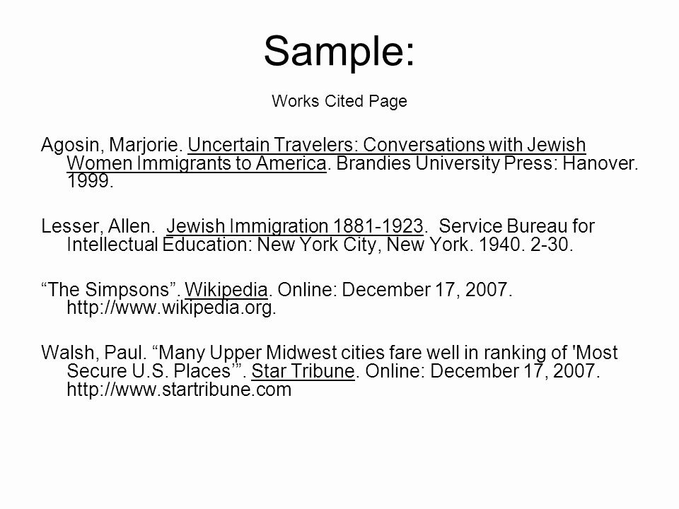 Samples Of Work Cited Pages Inspirational Works Cited Page Ppt