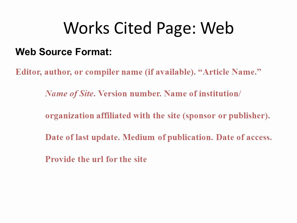 Samples Of Work Cited Pages Luxury Mla formatting Ppt