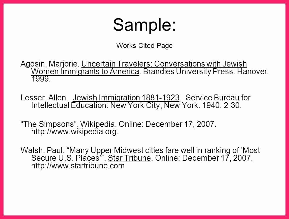 Samples Of Work Cited Pages Luxury What is A Work Cited Page