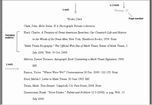 Samples Of Work Cited Pages New Mla formatting and Writing Resources