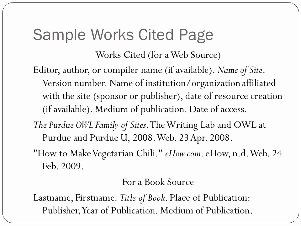 Samples Of Work Cited Pages New Mla Guidelines for formatting Documents Ppt Video Online