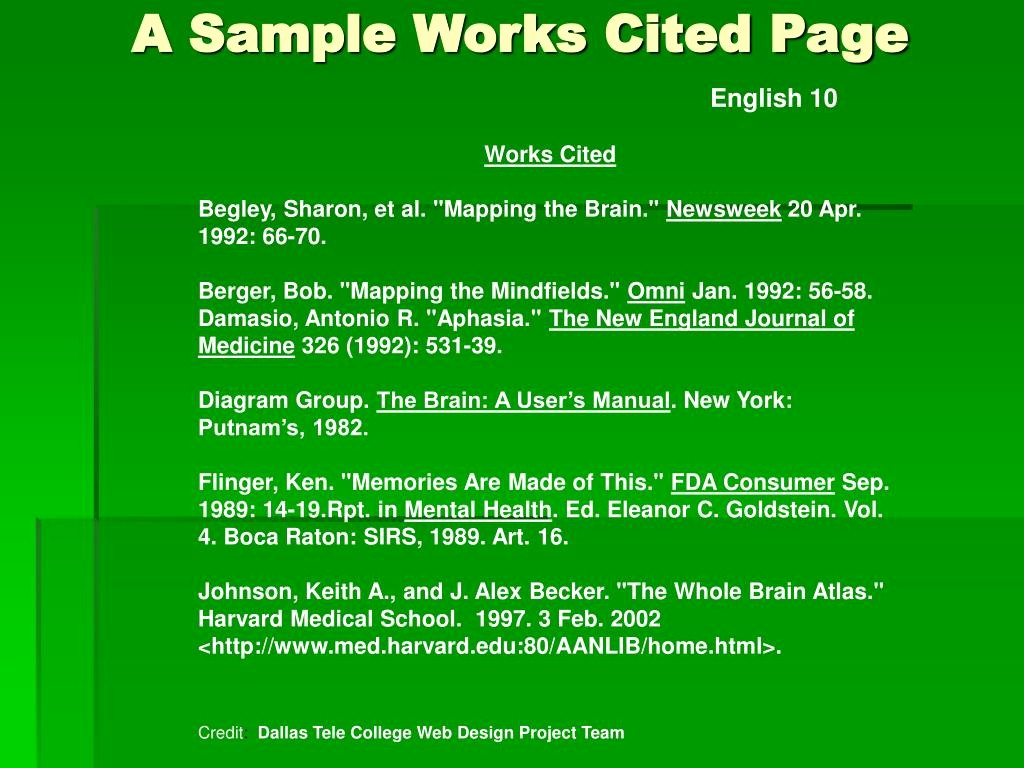 Samples Of Work Cited Pages New Ppt Cross Referencing Using Mla format Powerpoint