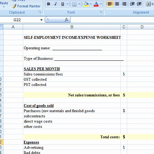 Schedule C Expense Excel Template Lovely Self Employed Spreadsheet