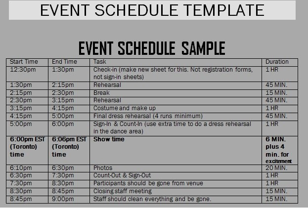 Schedule Of events Template Word Inspirational event Schedule Templates Word Excel Samples