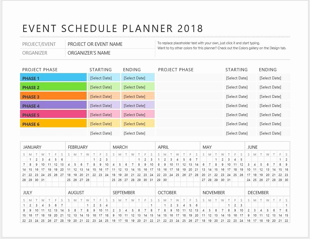 Schedule Of events Template Word Luxury event Planner Schedule Template – Starters