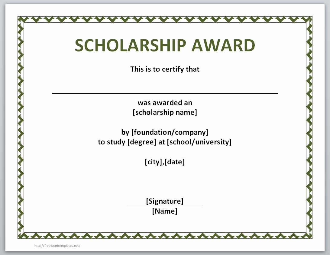 Scholarship Award Certificate Template Free Awesome 13 Free Certificate Templates for Word