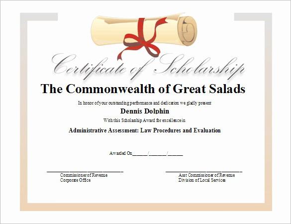 Scholarship Award Certificate Template Free Awesome 7 Scholarship Certificate Templates Word Psd