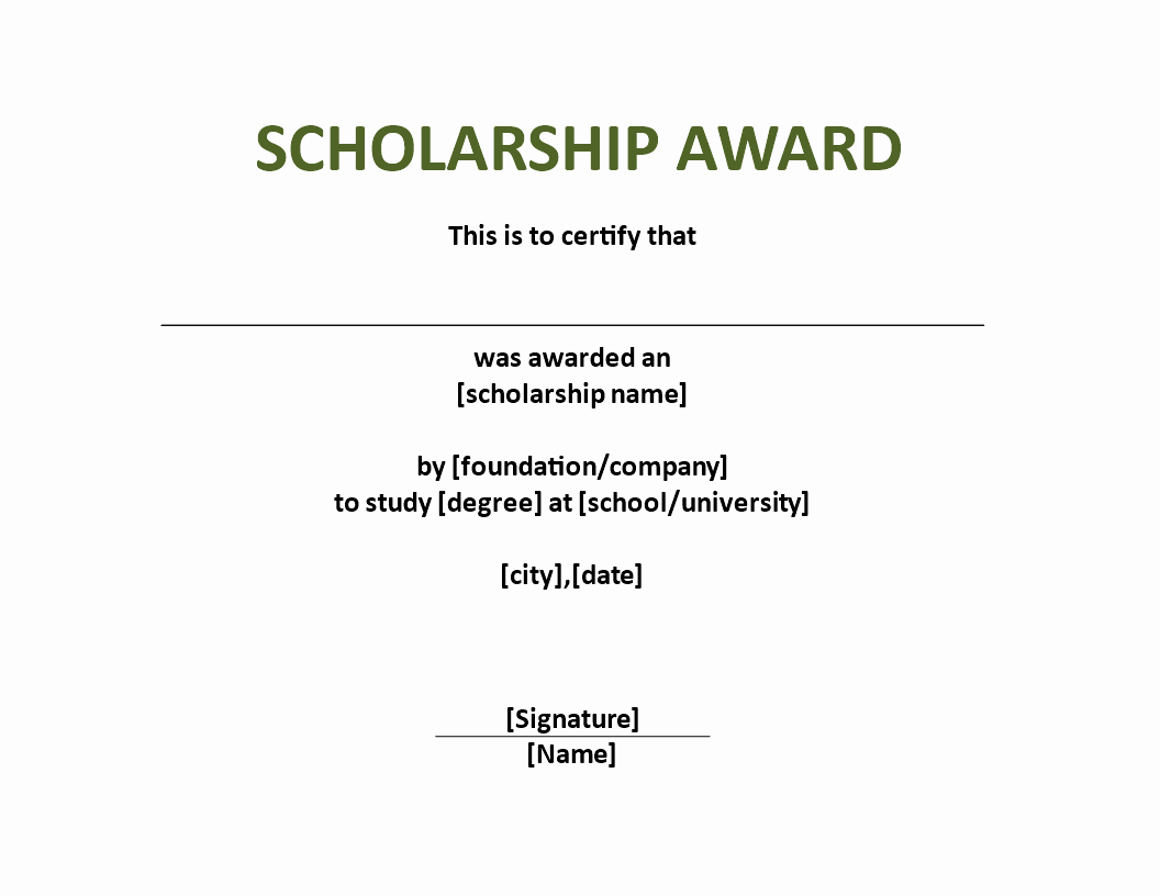 Scholarship Award Certificate Template Free Awesome Scholarship Award Certificate Template Download This