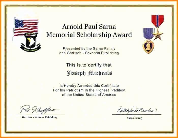 Scholarship Award Certificate Template Free Awesome Scholarship Award Template – Flirty