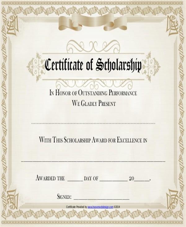 Scholarship Award Certificate Template Free Elegant 6 Sample Award Certificates