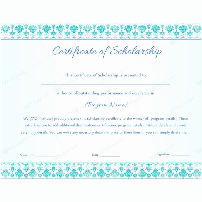 Scholarship Award Certificate Template Free Elegant 89 Elegant Award Certificates for Business and School events
