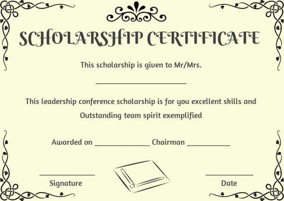 Scholarship Award Certificate Template Free Elegant Scholarship Certificate Template 11 Professional