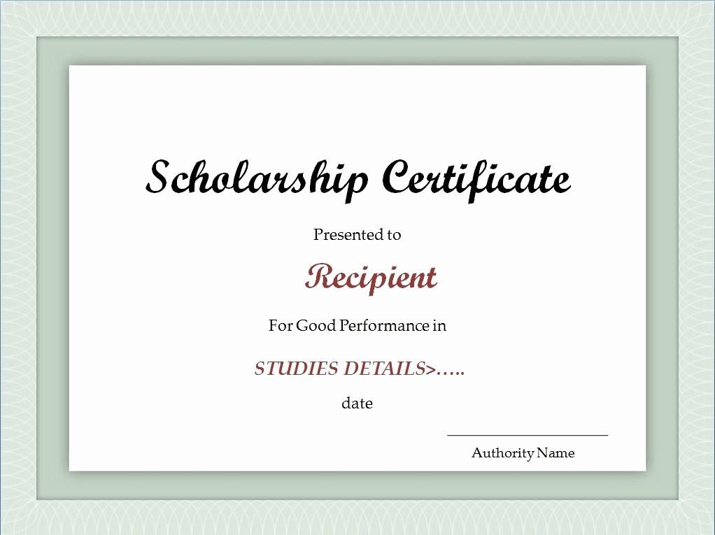 Scholarship Award Certificate Template Free Elegant Scholarship Certificate Template Excel Xlts