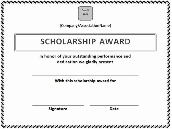 Scholarship Award Certificate Template Free Elegant Scholarship Certificate Template In Word format