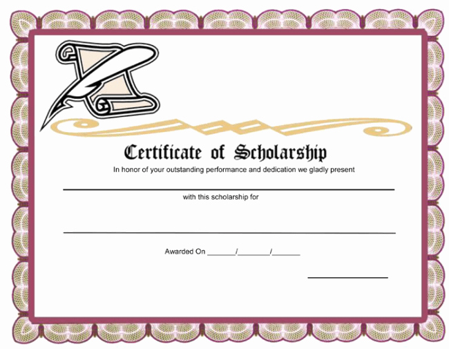 Scholarship Award Certificate Template Free Elegant Unique Award Template Example for Certificate Of