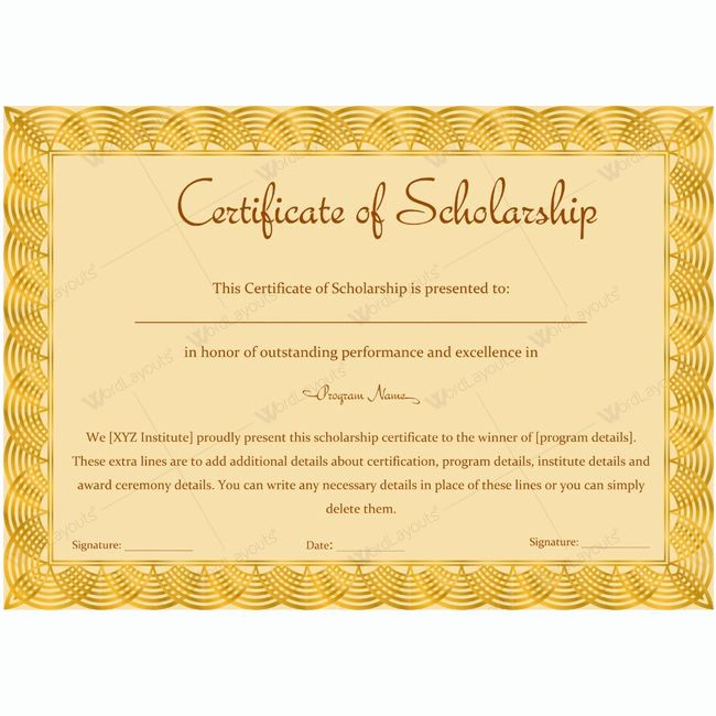 Scholarship Award Certificate Template Free Fresh 13 Best Certificate Of Scholarship Templates Images On