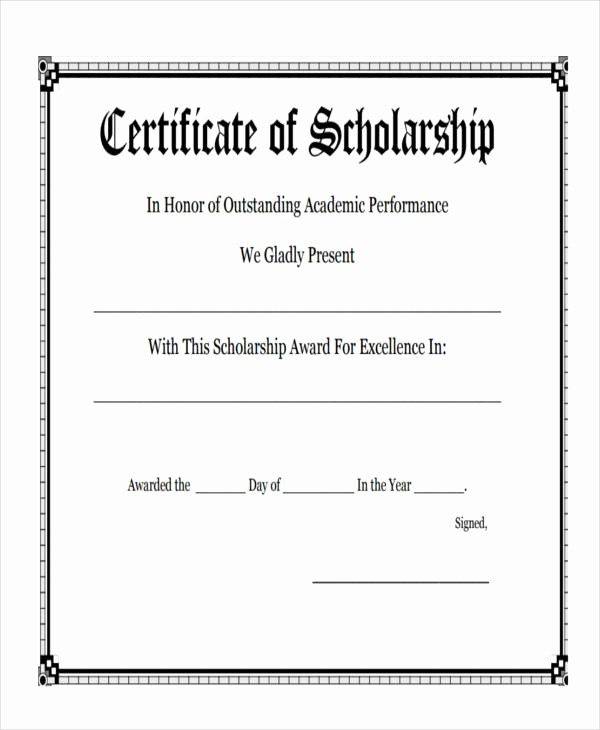 Scholarship Award Certificate Template Free Fresh 27 Award Certificate Examples & Samples