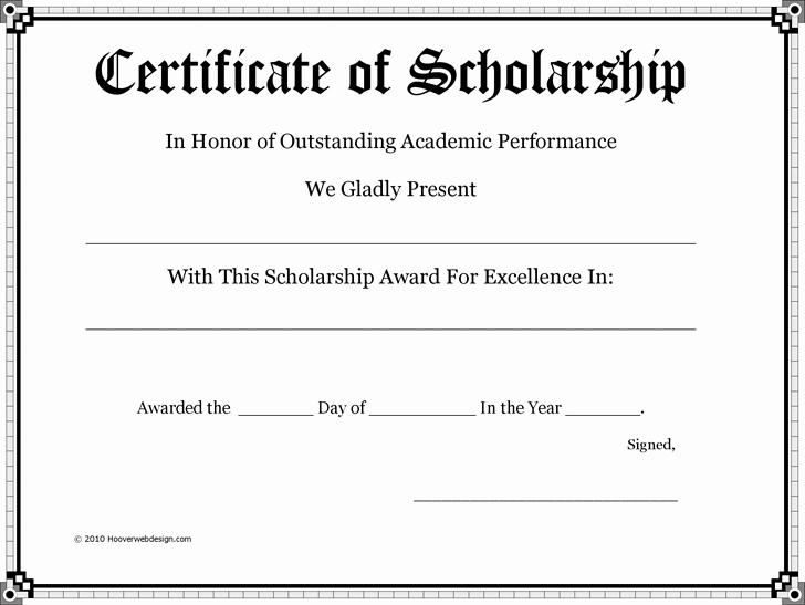 Scholarship Award Certificate Template Free Fresh Certificate Of Scholarship Pto Teacher Gifts