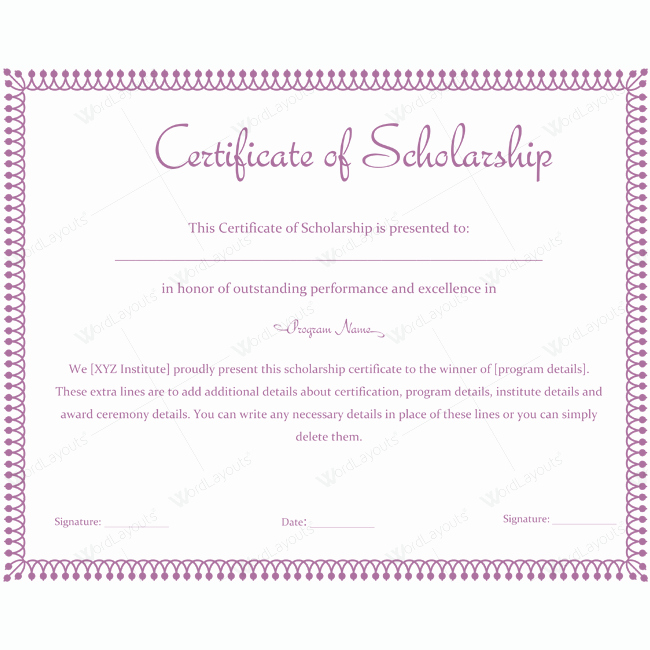 Scholarship Award Certificate Template Free Inspirational 89 Elegant Award Certificates for Business and School events