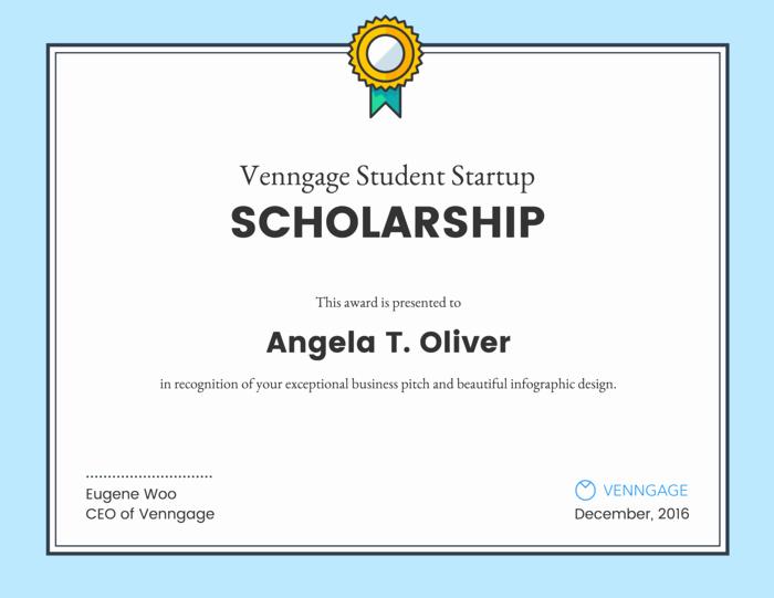 Scholarship Award Certificate Template Free Inspirational Scholarship Certificate Template Venngage