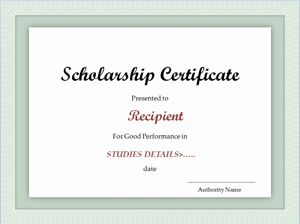 Scholarship Award Certificate Template Free Lovely Scholarship Certificate Template Excel Xlts