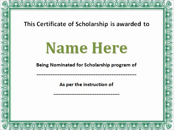 Scholarship Award Certificate Template Free Luxury 7 Scholarship Certificate Templates Word Psd
