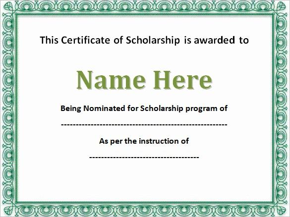 Scholarship Award Certificate Template Free Luxury 7 Scholarship Certificate Templates Word Psd