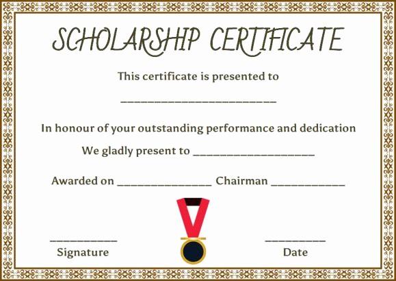 Scholarship Award Certificate Template Free Luxury Scholarship Certificate Template 11 Professional
