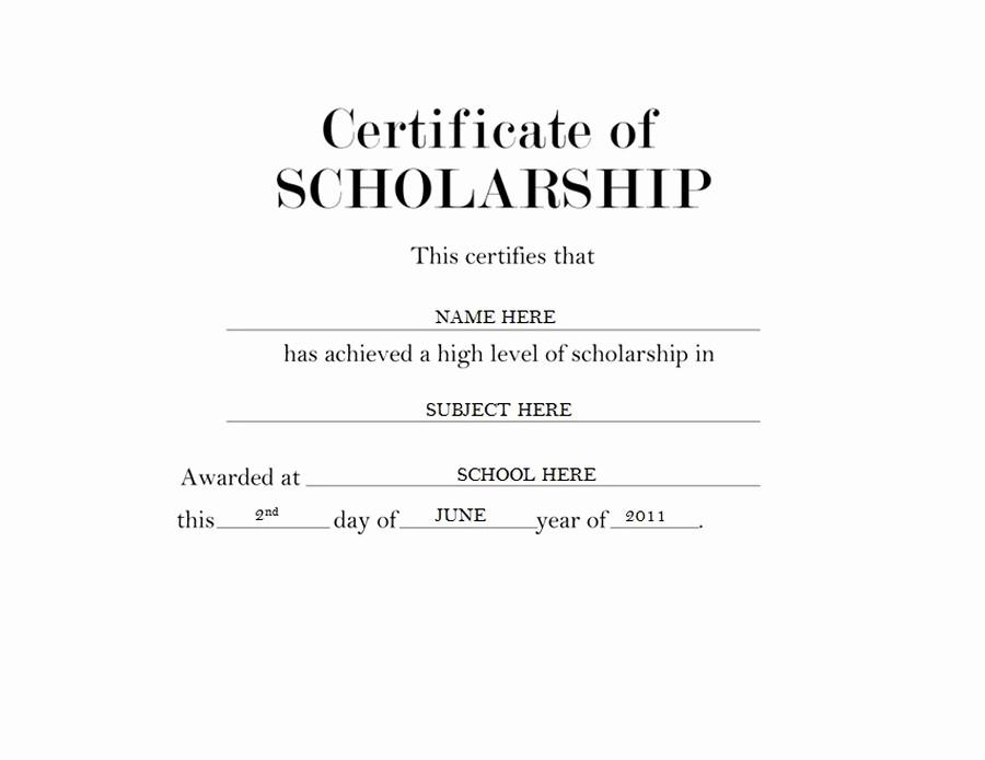 Scholarship Award Certificate Template Free New Certificate Of Scholarship Free Templates Clip Art